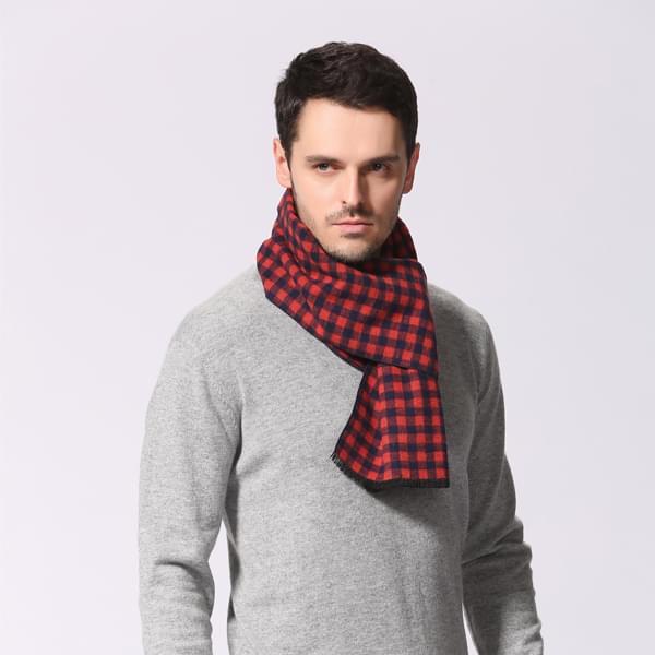 格子男式围巾