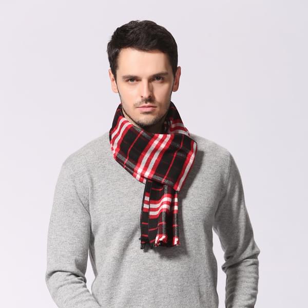 红色男士格子围巾