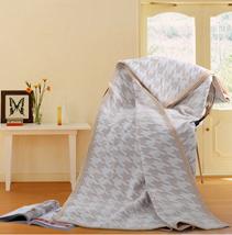 千鸟格提花真丝毯子